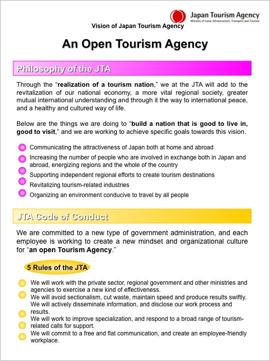 Vision of the Japan Tourism Agency | About the JTA | Japan Tourism