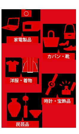 家電製品、カバン・靴、洋服・着物、時計、宝飾品、民芸品