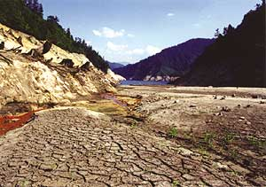 渇水でひび割れたダムの底